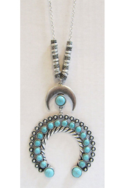KIMBALS Turquoise Squash Blossom Drop Long Necklace - Product Mini Image