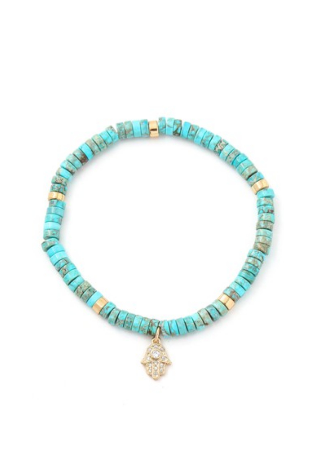 Fame Accessories Turquoise Stone Beaded Hamsa Hand Charm Bracelet - Main Image