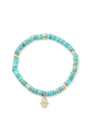 Fame Accessories Turquoise Stone Beaded Hamsa Hand Charm Bracelet - Front cropped