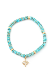 Anarchy Street Turquoise Stone Beaded North Star Charm Bracelet - Product Mini Image