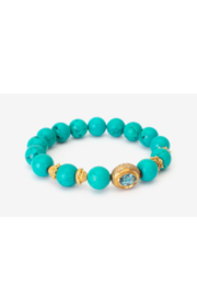 Samira  Turquoise Stretch Bracelet with 18K Charm - Front cropped