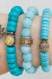 The Woods Fine Jewelry  Turquoise Stretch Bracelet with Brass Charm - Product Mini Image