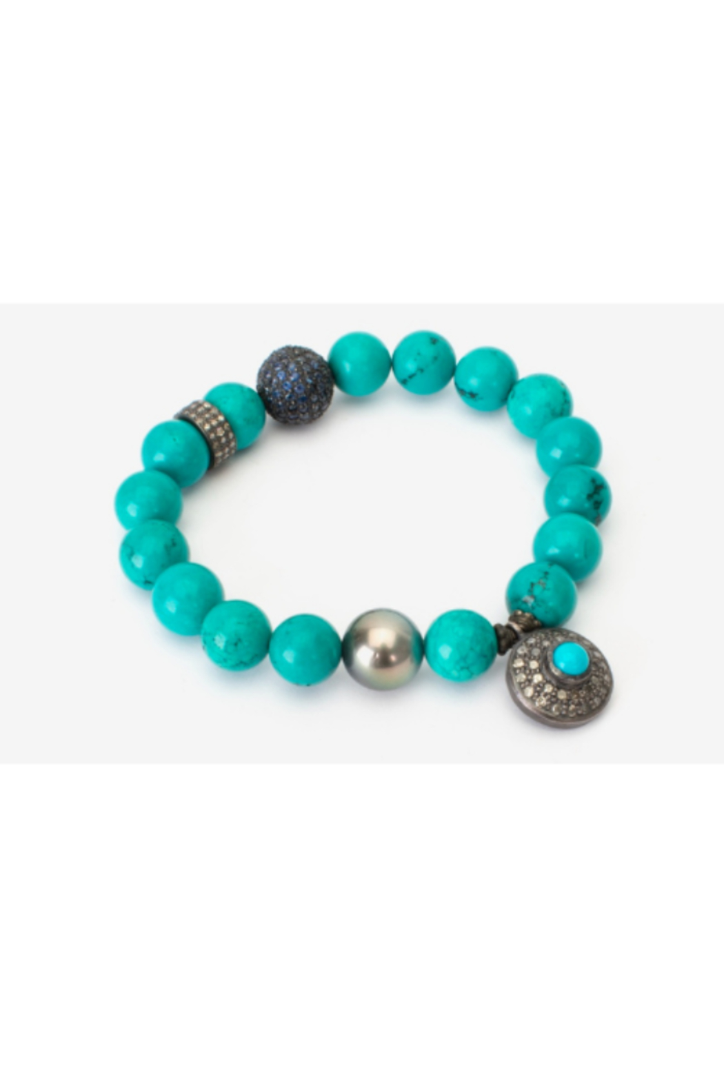 Samira  Turquoise Stretch Bracelet with Sapphire Sterling Silver Ball - Main Image