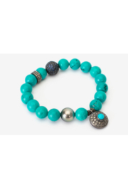 Samira  Turquoise Stretch Bracelet with Sapphire Sterling Silver Ball - Front cropped