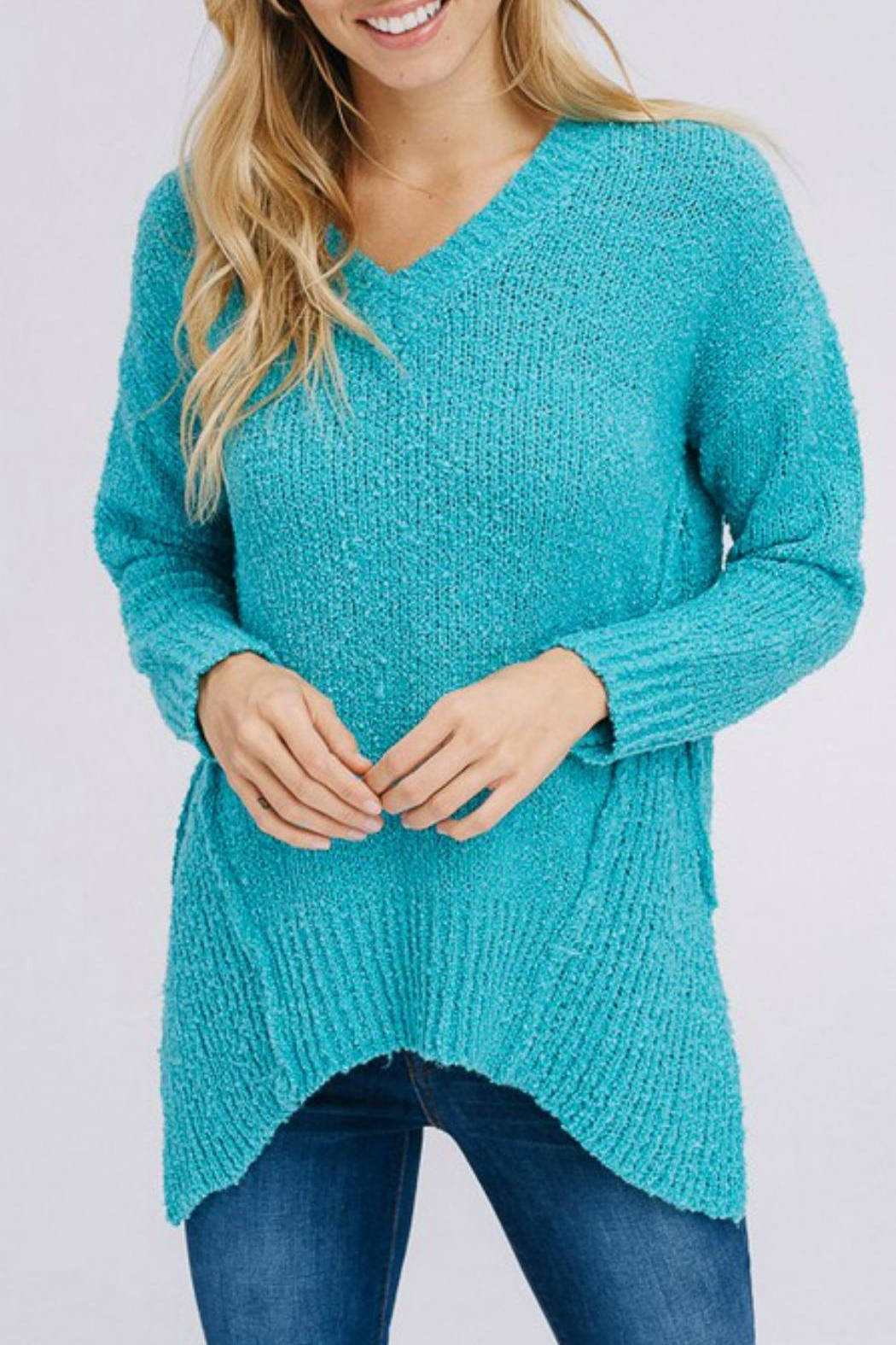 Modern Emporium Turquoise Sweater - Front Cropped Image