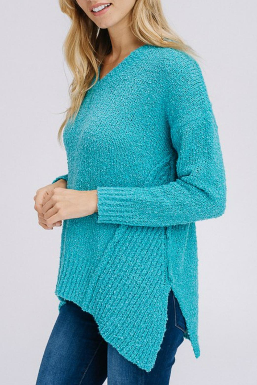 Modern Emporium Turquoise Sweater - Side Cropped Image