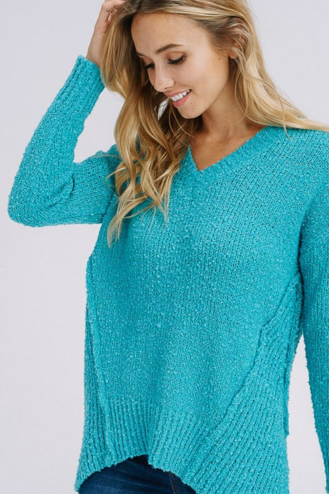 Modern Emporium Turquoise Sweater - Front Full Image