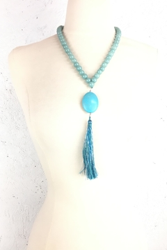 Shoptiques Product:  Turquoise-Tassel-Bead Necklace