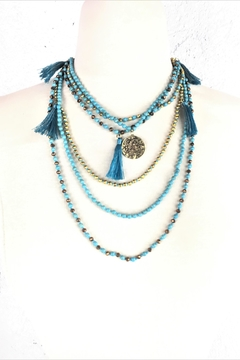 Shoptiques Product: Turquoise-Tassel Layered-Bead-Necklace