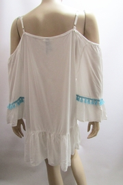 KIMBALS TURQUOISE TRIMMED COLD SHOULDER DRESS - Front full body