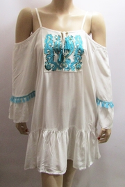 KIMBALS TURQUOISE TRIMMED COLD SHOULDER DRESS - Front cropped