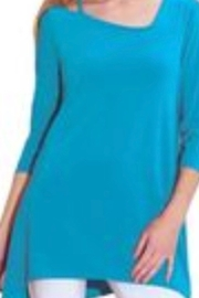 Clara sun woo turquoise tunic with shoulder detail, 3/4 sleeve - Product Mini Image
