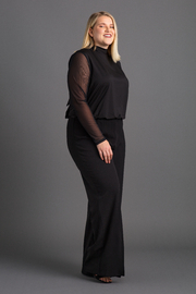 VKY & CO Turtle Neck Halter Back Bow Jumpsuit - Front full body