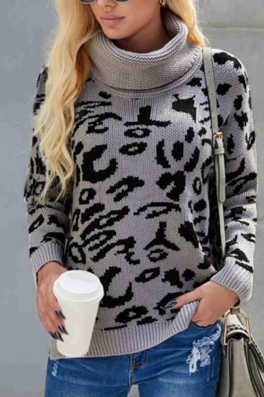 Shewin Turtle Neck Leopard Sweater - Main Image