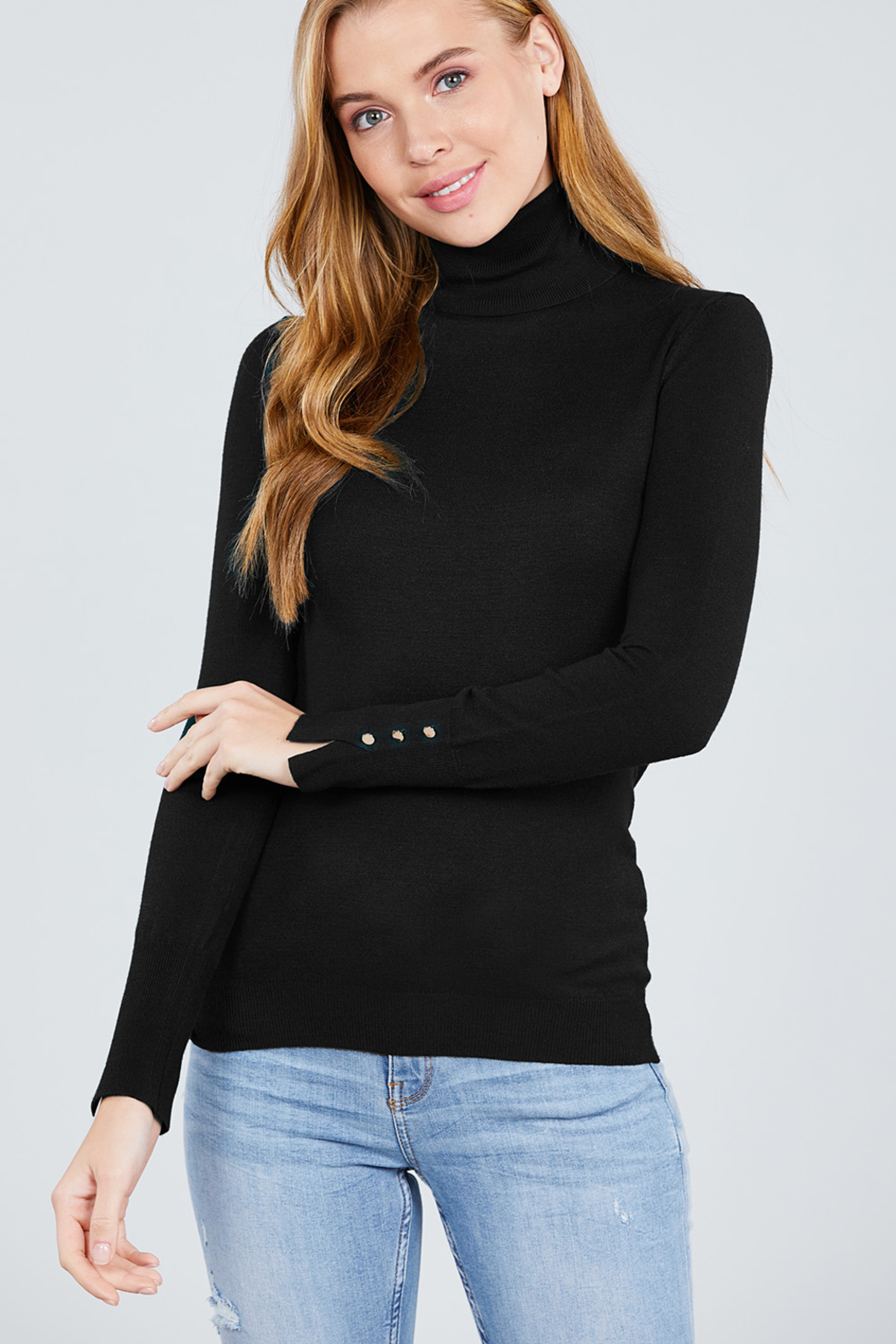 Active Basic Turtle-Neck light weight sweater - Main Image