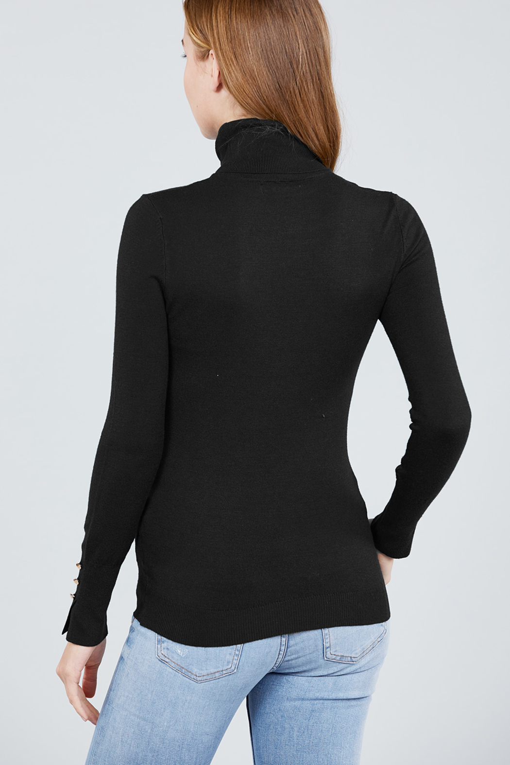 Active Basic Turtle-Neck light weight sweater - Side Cropped Image