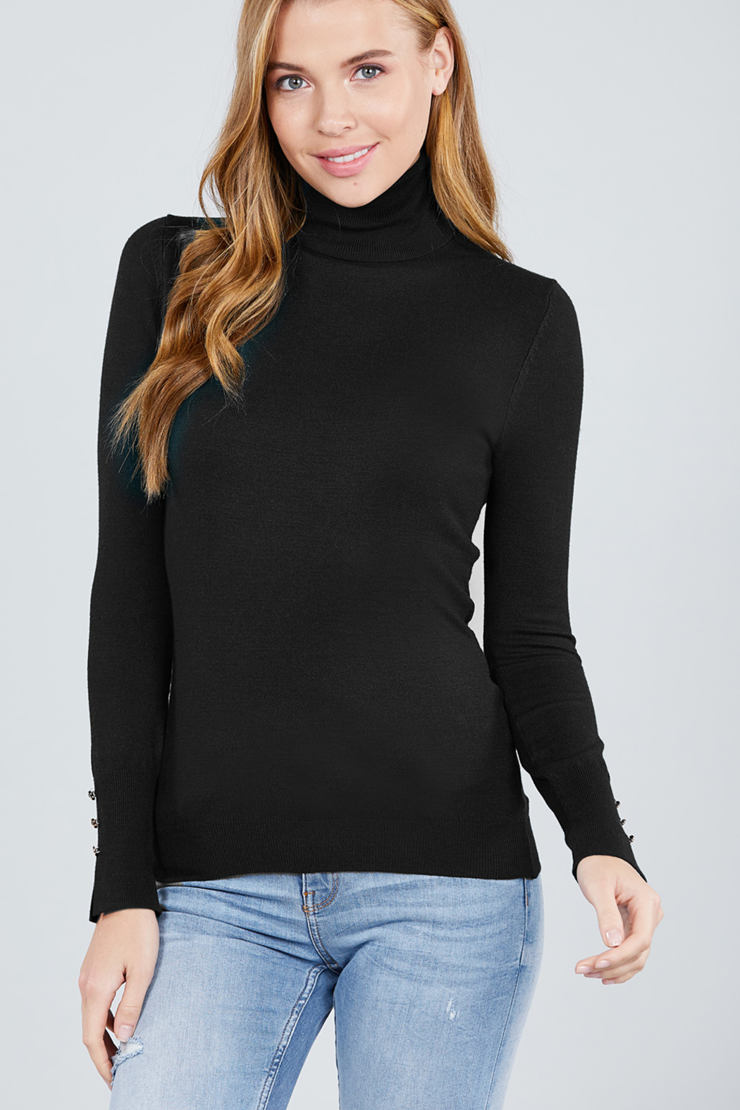 Active Basic Turtle-Neck light weight sweater - Front Full Image