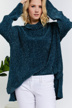 Fashion District LA Turtle Neck Ribbed Knit Chenille Sweater - Product List Image