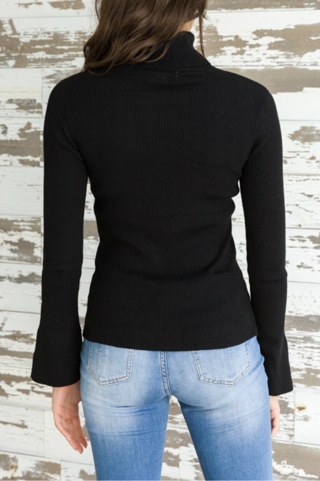 Mystree Turtle neck ribbed sweater - Front Full Image