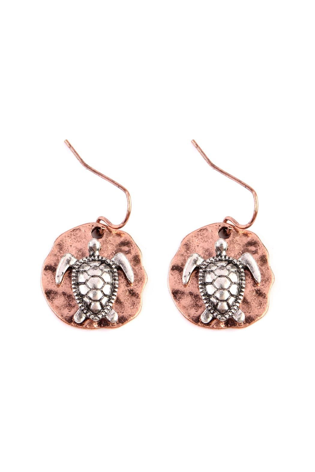 Riah Fashion Turtle Plate Drop-Earrings - Main Image