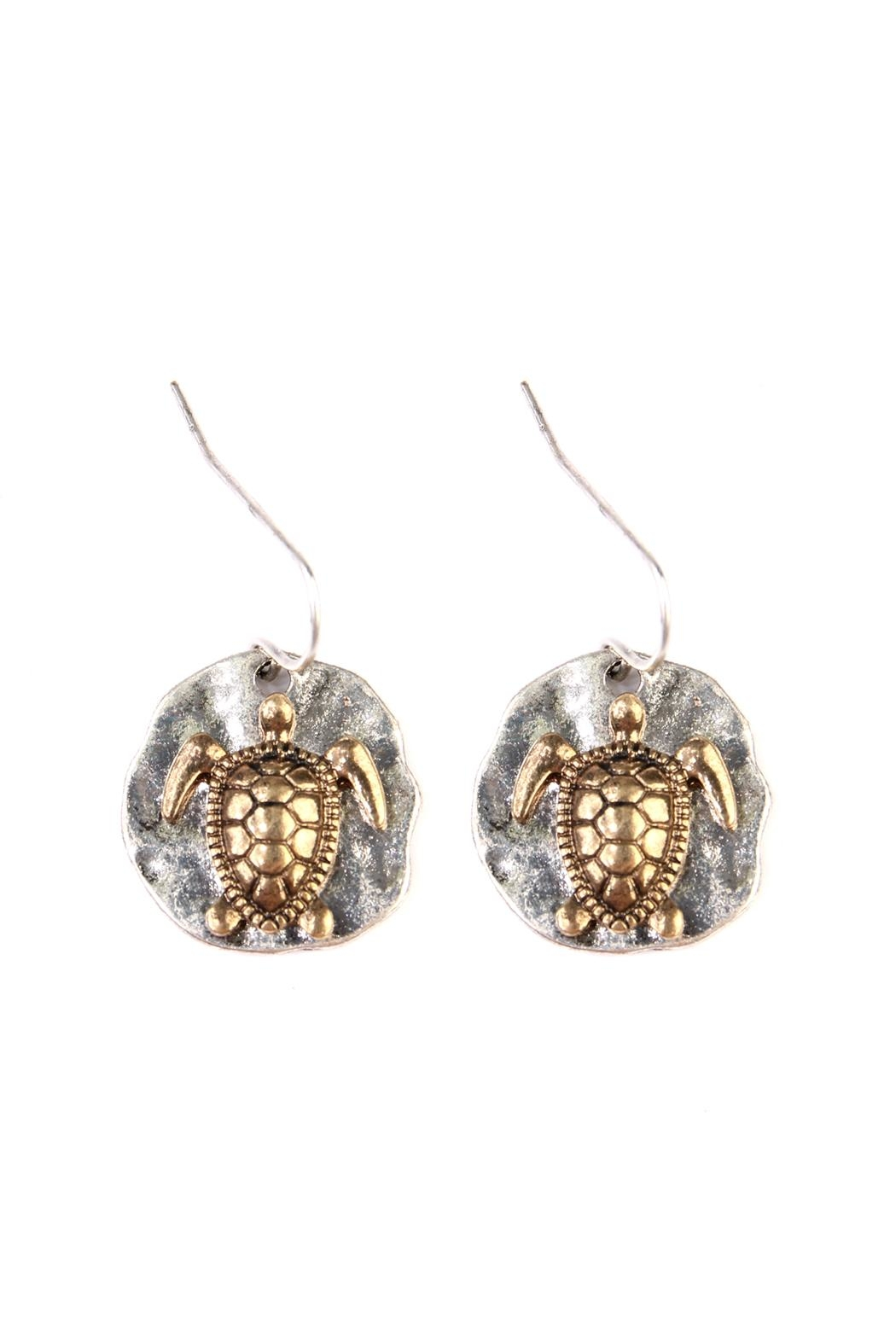 Riah Fashion Turtle Plate Drop-Earrings - Front Cropped Image