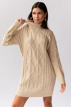 Gilli Clothing Turtleneck Cable Sweater Dress - Product List Image