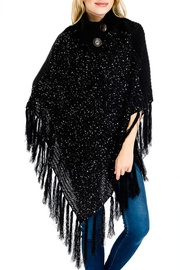 Cap Zone Turtleneck Styled Sequins-Poncho - Product Mini Image