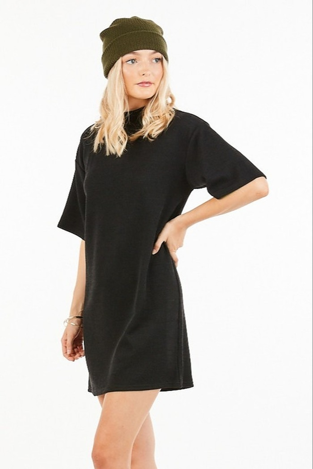 Very J Turtleneck Sweater Dress - Front Full Image