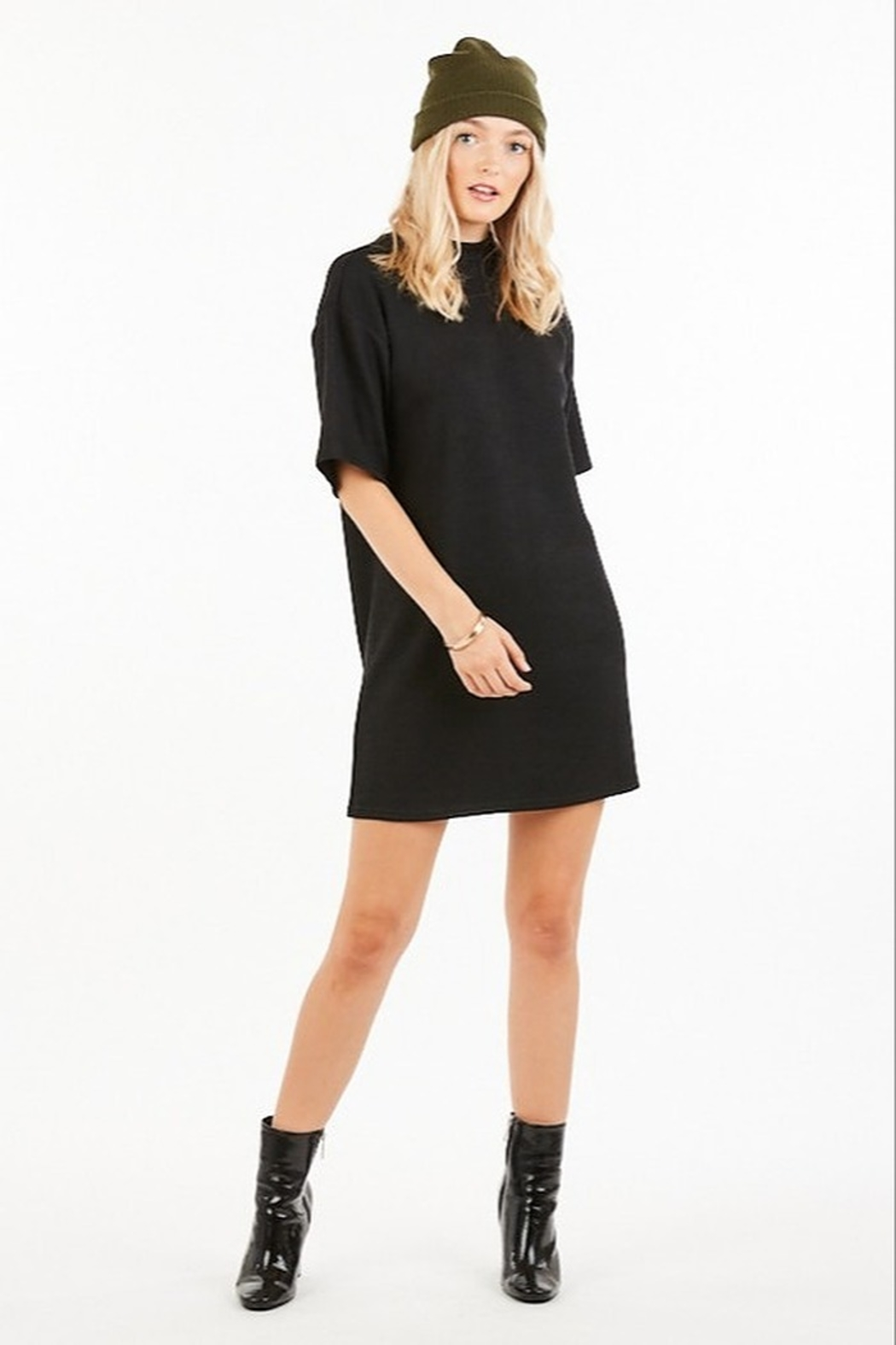 Very J Turtleneck Sweater Dress - Front Cropped Image