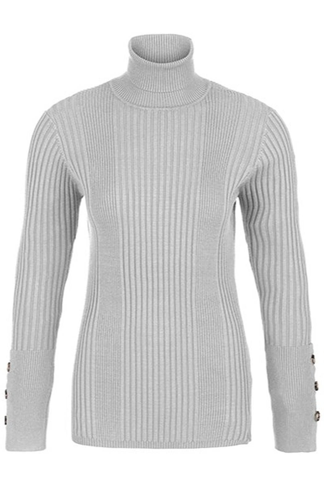 Tribal  Turtleneck With Button Sleeve - Front Cropped Image