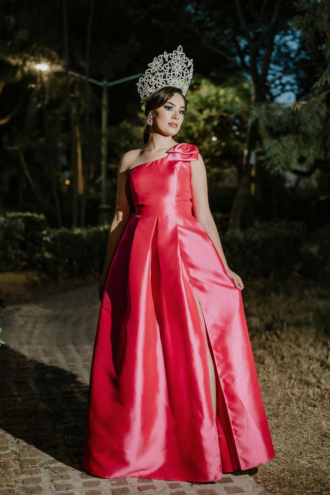 Tutto Moda 77 One Shoulder Pink Gown - Front Full Image