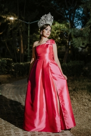 Tutto Moda 77 One Shoulder Pink Gown - Front full body