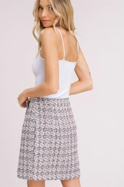 Listicle Tweed Faux Wrap Skirt - Front full body