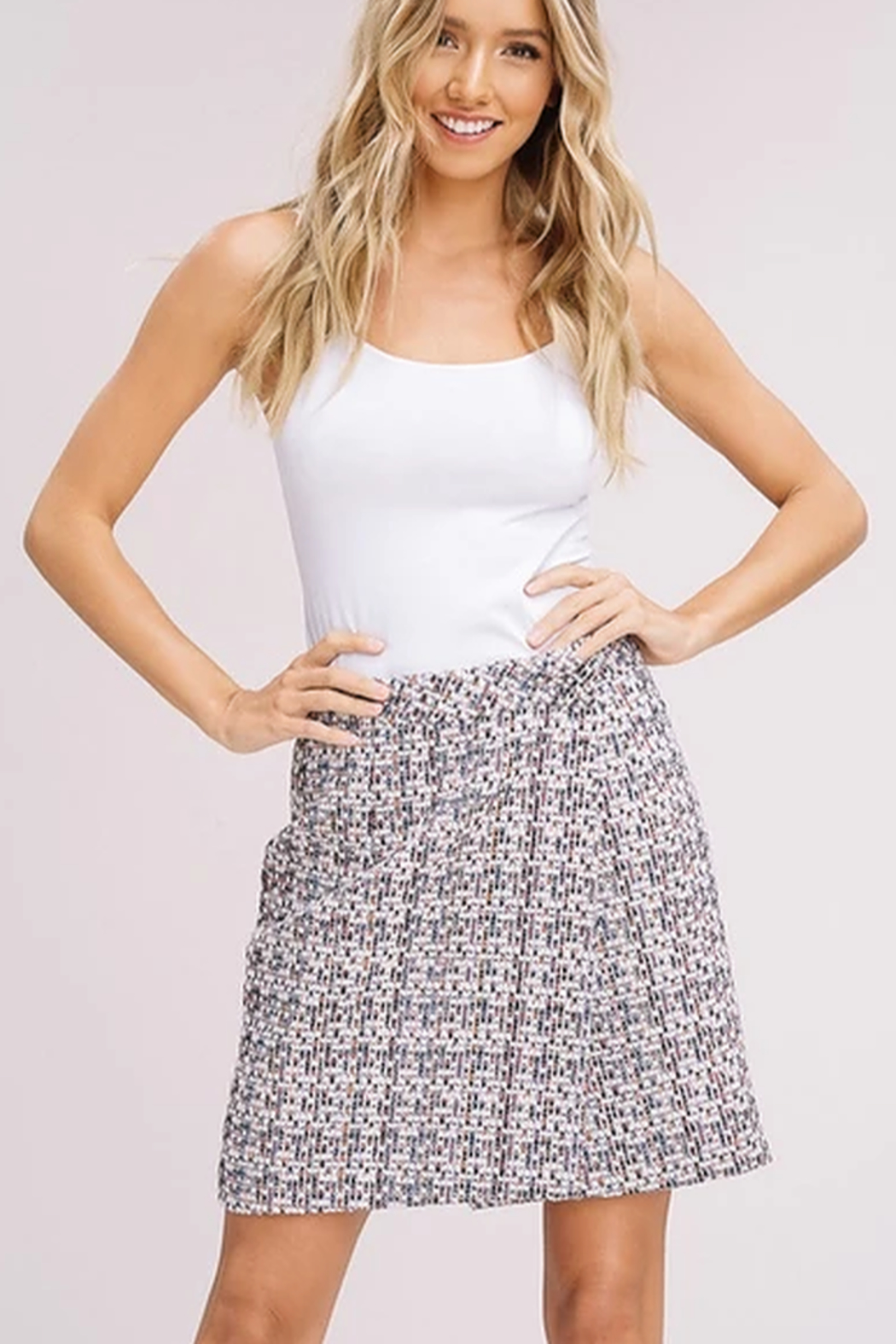Listicle Tweed Faux Wrap Skirt - Main Image