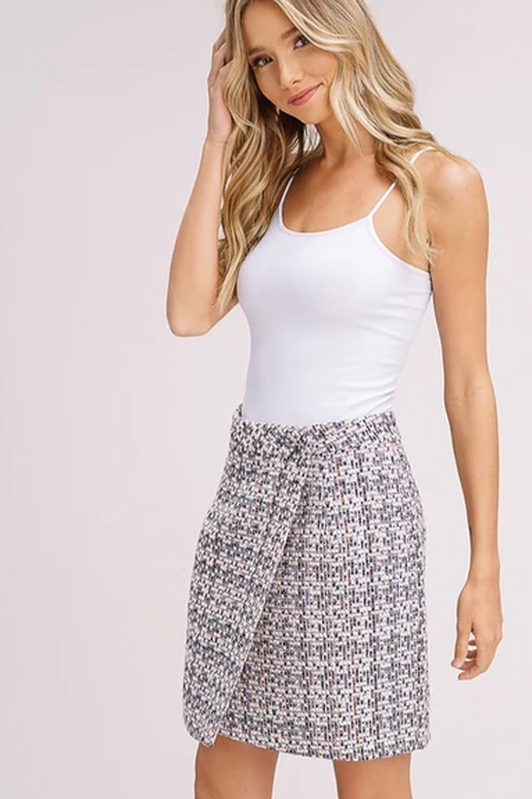 Listicle Tweed Faux Wrap Skirt - Side Cropped Image