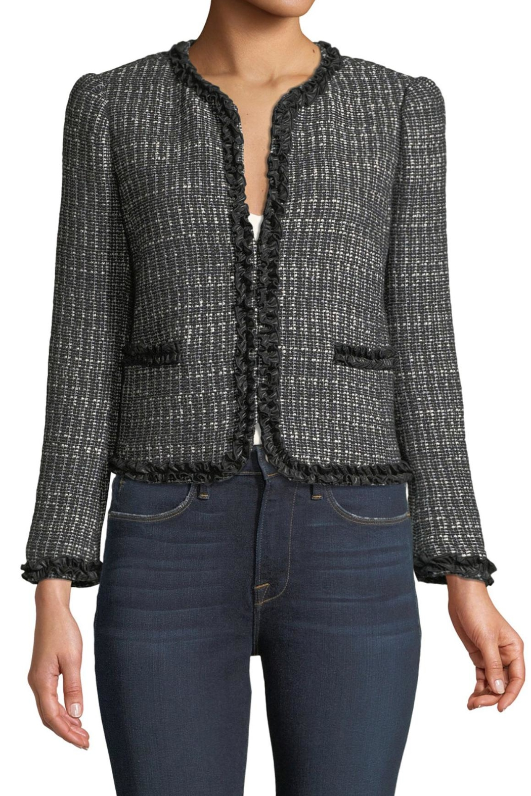 Rebecca Taylor Tweed Ruffle Jacket - Side Cropped Image