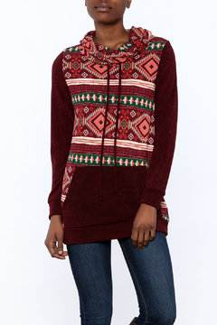 Shoptiques Product: Burgundy Tribal Hoodie