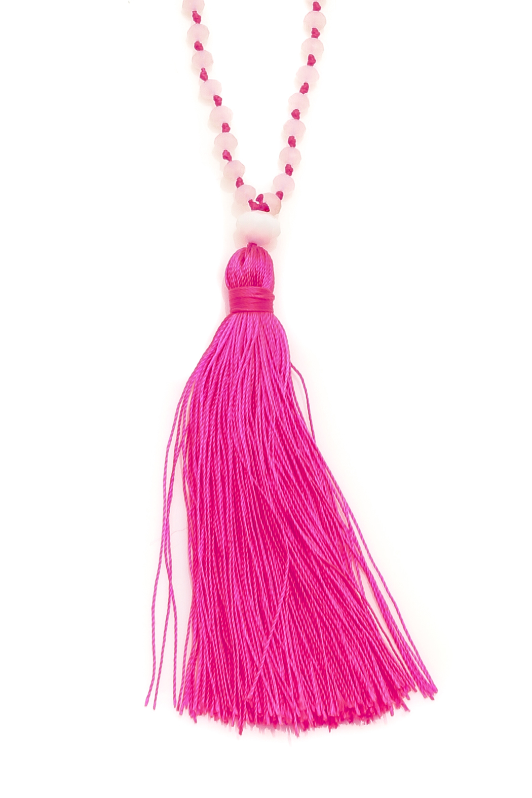 Twice Hot Pink Tassel Necklace - Front Full Image
