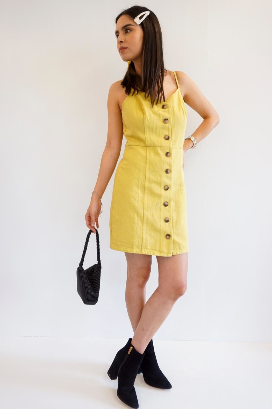 Renamed Clothing Twiggy Button Dress - Side Cropped Image