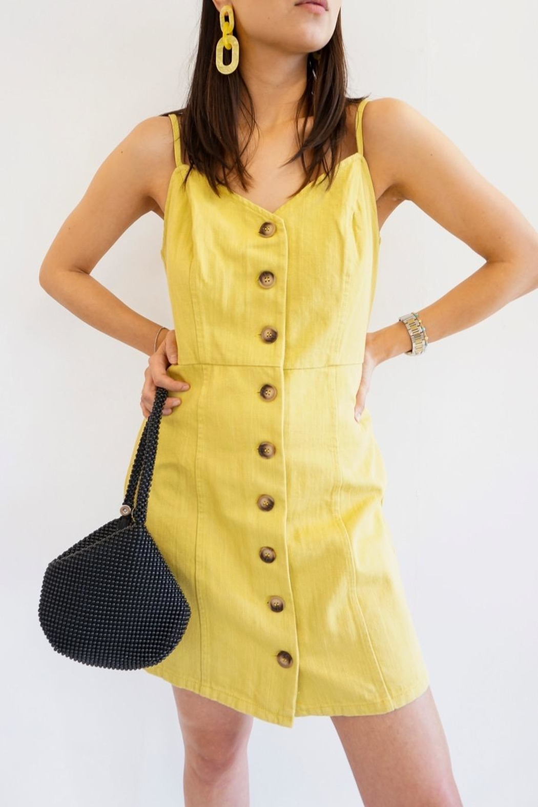 Renamed Clothing Twiggy Button Dress - Main Image