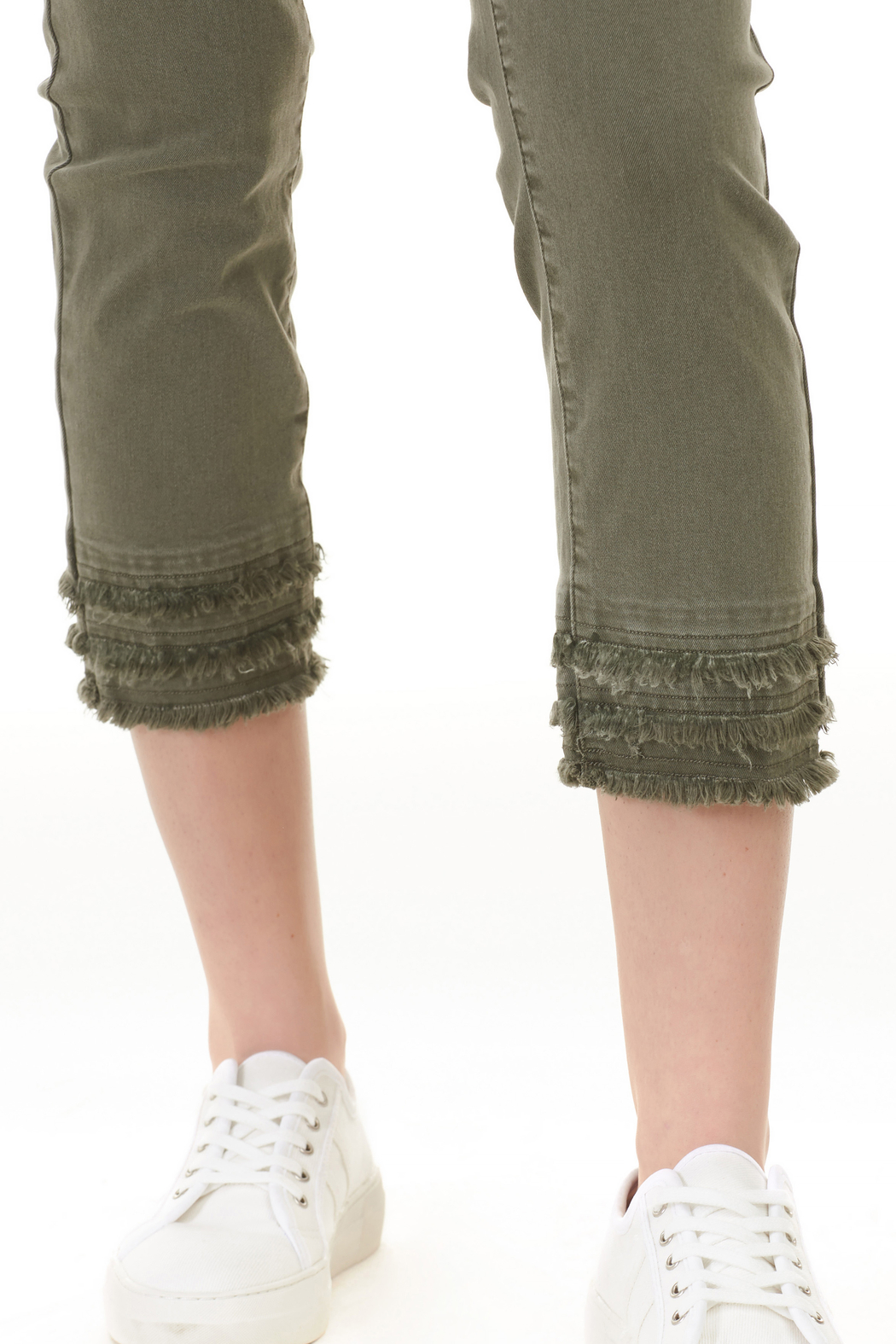 Charlie B. Twill Jeans with layered Fringe hem - Side Cropped Image