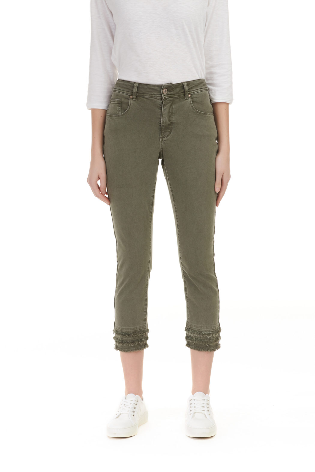 Charlie B. Twill Jeans with layered Fringe hem - Front Cropped Image
