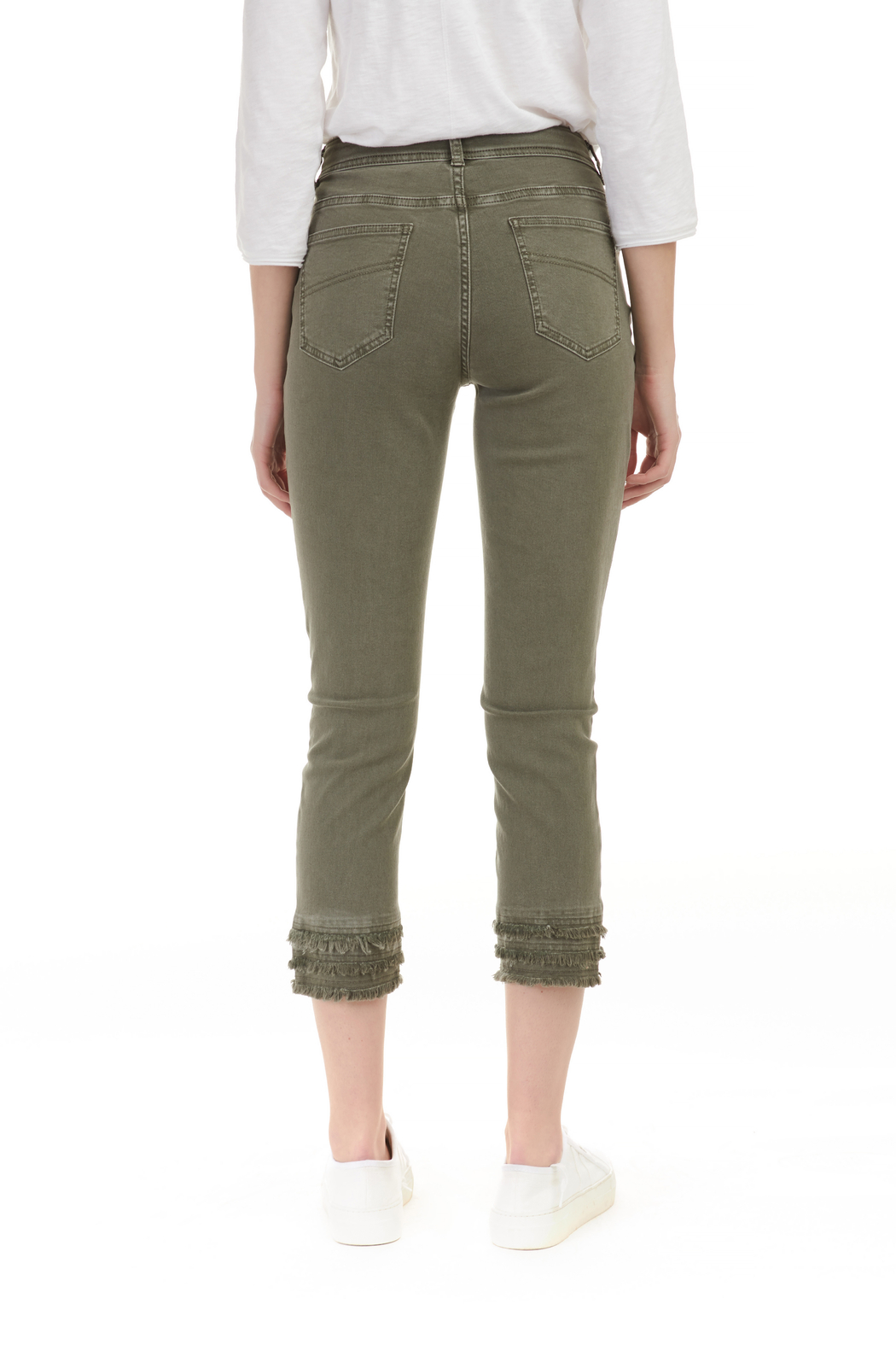 Charlie B. Twill Jeans with layered Fringe hem - Front Full Image