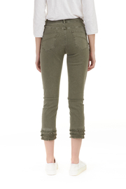 Charlie B. Twill Jeans with layered Fringe hem - Front full body