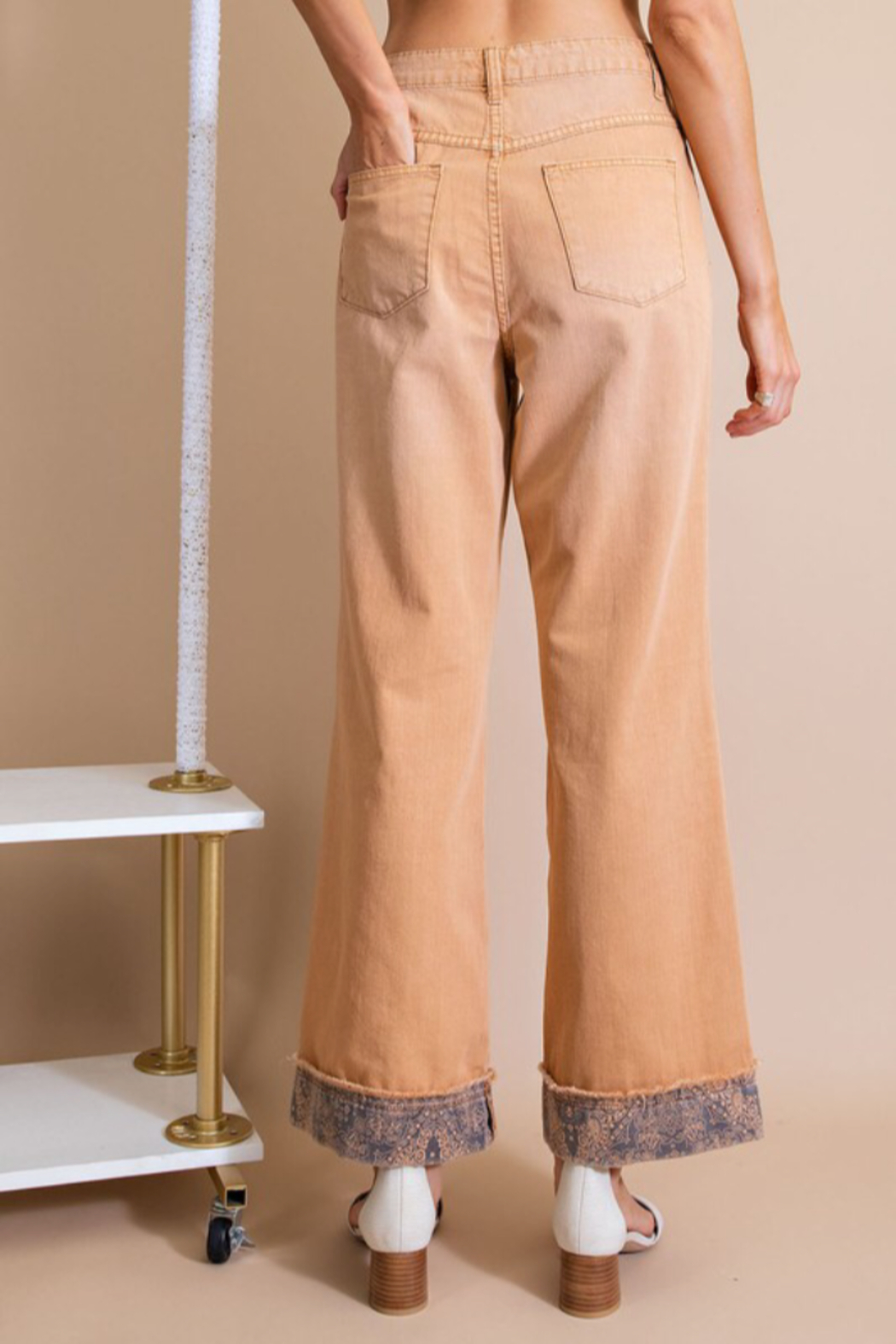 easel  Twill Pants w/ Detail Bottom - Front Full Image
