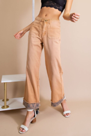 easel  Twill Pants w/ Detail Bottom - Product Mini Image