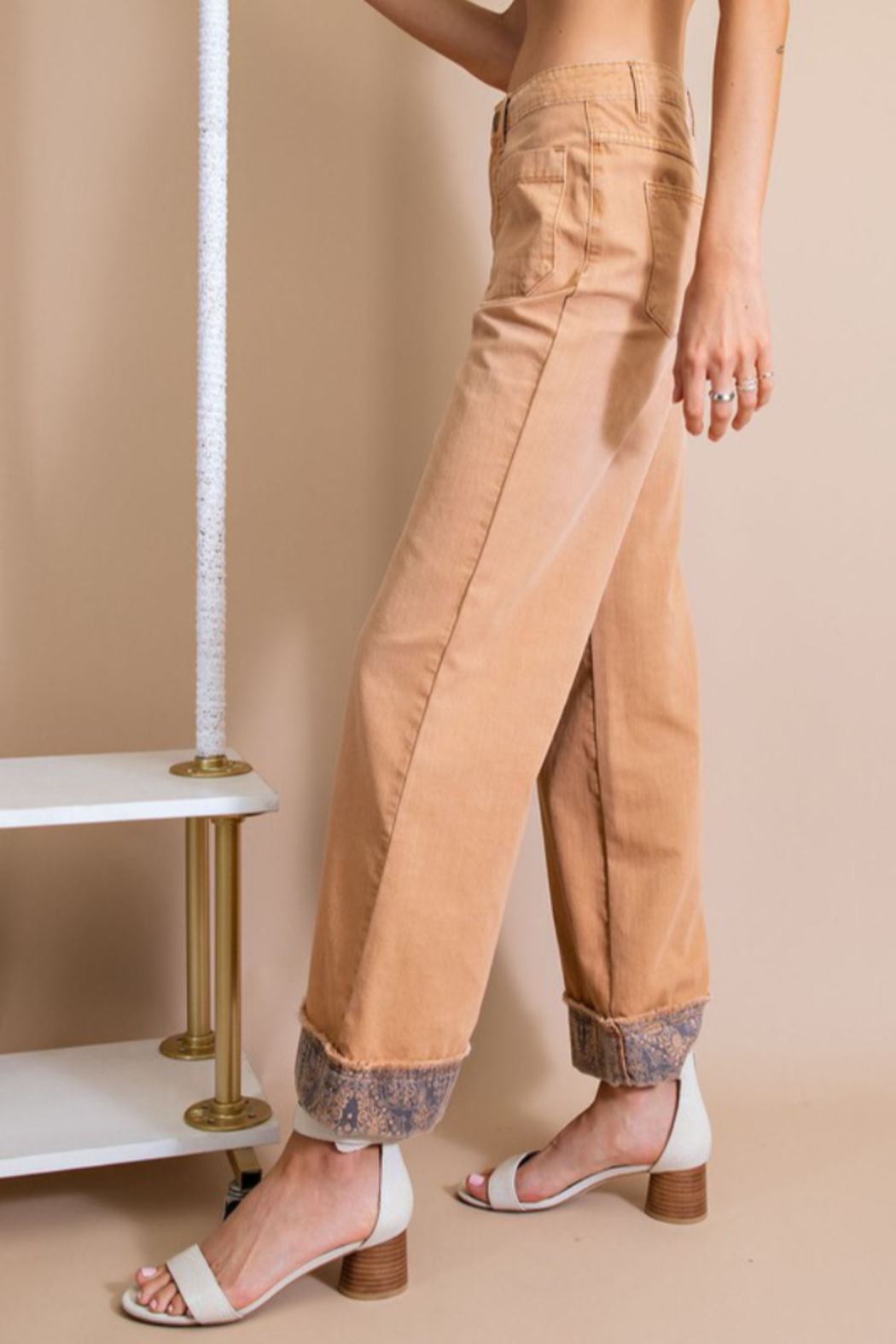 easel  Twill Pants w/ Detail Bottom - Side Cropped Image