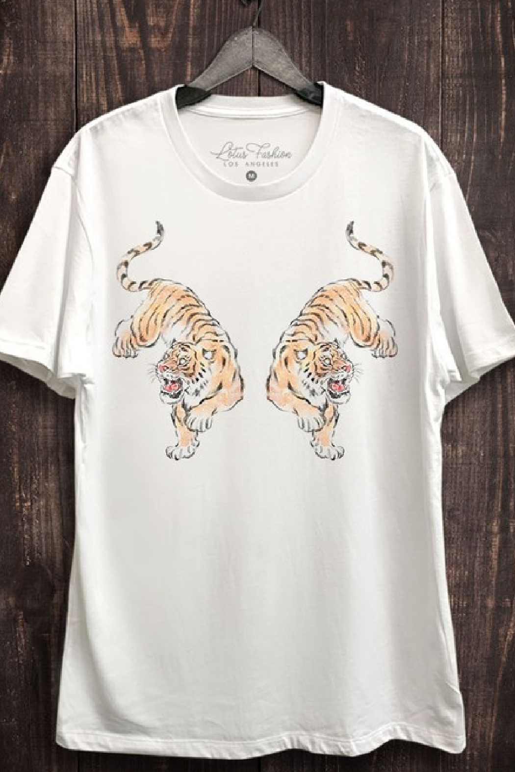 Lotus Fashion Twin Tiger Graphic Tee - Front Cropped Image