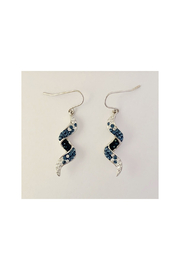 Presco TWIRL WAVE WIRE EARRINGS WITH CRYSTAL ELEMENTS - Front cropped