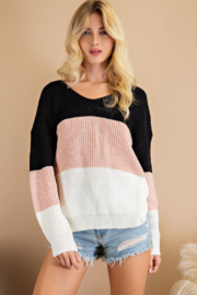 143 Story Twist Back Color Block Sweater - Product Mini Image